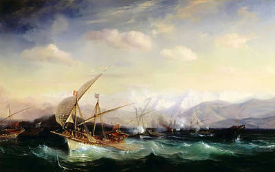 Beautiful Scenery Painting - Admiral Andrea Dora Scatters The Spanish Fleet Near Vara by Celestial Images
