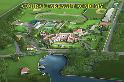 Campus Maps Drawing - Admiral Farragut Academy by Rhett and Sherry  Erb