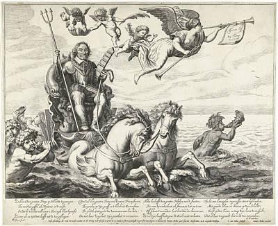 Seahorse Drawing - Admiral Maarten Tromp Harpertsz On Chariot by Cornelis Van Dalen (ii) And Wouter Muller And Herman Frederik Waterloos