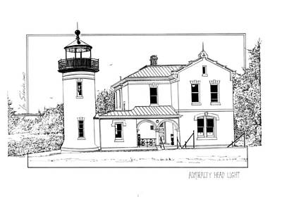 Lighthouse Drawing - Admiralty Head Light by Ira Shander