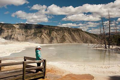 Mammoth Hot Springs Photograph - Admiring Canary Springs, Mammoth by Howie Garber