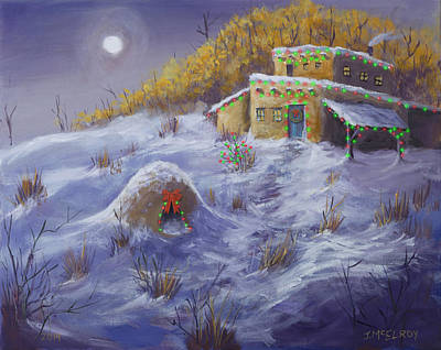 Oven Painting - Adobe Christmas by Jerry McElroy