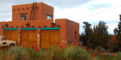 Adobe House And Poppies Art Print