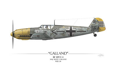 Adolf Painting - Adolf Galland Messerschmitt Bf-109 - White Background by Craig Tinder