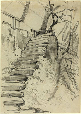Adolph Menzel, Flight Of Stone Steps In A Garden Art Print by Litz Collection