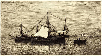 Coasting Drawing - Adolphe Appian, French 1818-1898, Coasting Trade Vessels by Litz Collection