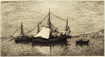 Coasting Drawing - Adolphe Appian French, 1818 - 1898, Coasting Trade Vessels by Quint Lox