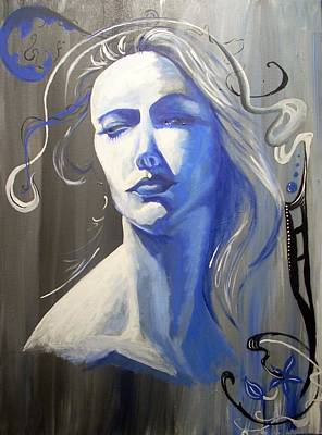 Diane Peters Painting - Adora In Blue by Diane Peters