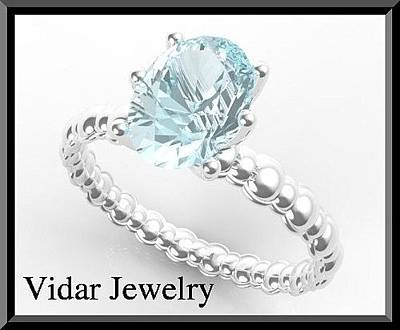 Jewelry - Adorable 925 Sterling Silver Aquamarine Engagement Ring by Roi Avidar