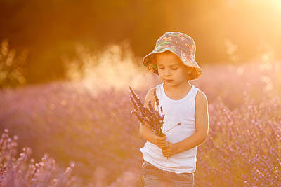 Adorable Cute Boy With A Hat In A Lavender Field Art Print by Tatyana Tomsickova