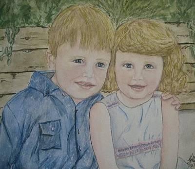 Painting - Adorable Siblings by Kelly Mills