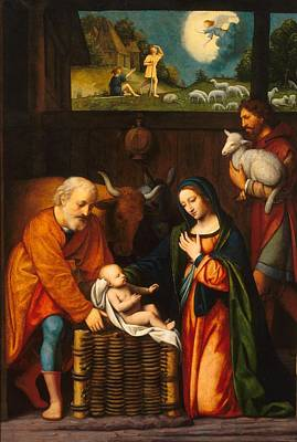 Historical Buildings Painting - Adoration Of The Christ Child  by Celestial Images