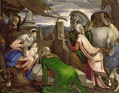 Child Jesus Painting - Adoration Of The Magi by Jacopo Bassano