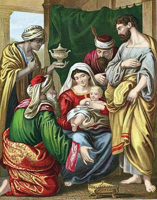 Nativity Painting - Adoration Of The Magi by Anonymous