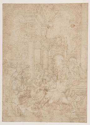Flemish Drawing - Adoration Of The Magi by Flemish , first quarter of the sixteenth century