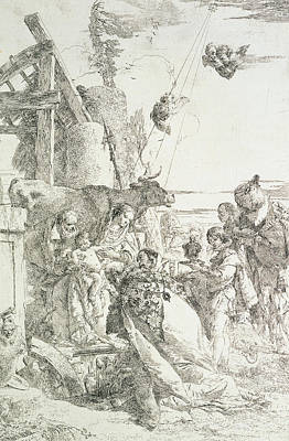 Baby Angel Drawing - Adoration Of The Magi by Giovanni Battista Tiepolo