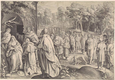 Wise Men Drawing - Adoration Of The Magi, Print Maker Nicolaes De Bruyn by Nicolaes De Bruyn And Pieter Schenk I