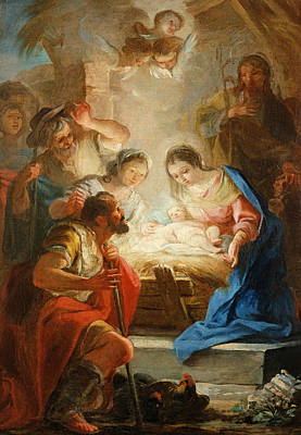 Madonnas Photograph - Adoration Of The Shepherds by Mariano Salvador de Maella