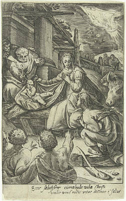 Manger Drawing - Adoration Of The Shepherds by Nicolaes Jansz. Clock