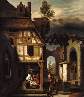 Adoration Of The Shepherds Art Print by Nicolaes Maes