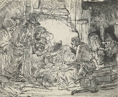 Adoration Of The Shepherds With Lamp Art Print by Celestial Images