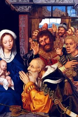 Adoring Baby Jesus Art Print by Munir Alawi