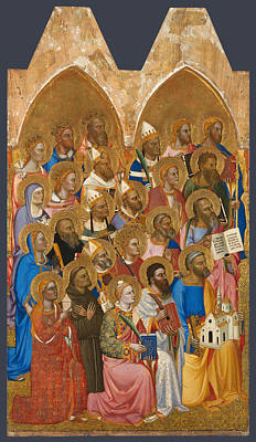 Catholic For Sale Painting - Adoring Saints. Left Main Tier Panel by Jacopo di Cione and Workshop