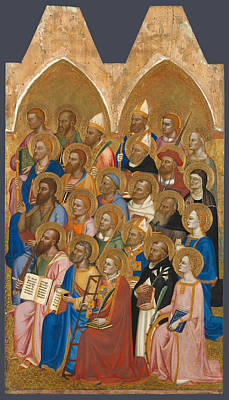 Catholic For Sale Painting - Adoring Saints. Right Main Tier Panel by Jacopo di Cione and Workshop