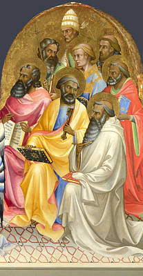 Rights Painting - Adoring Saints. Right Main Tier Panel by Lorenzo Monaco