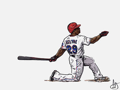 Texas Drawing - Adrian Beltre by Joshua Sooter
