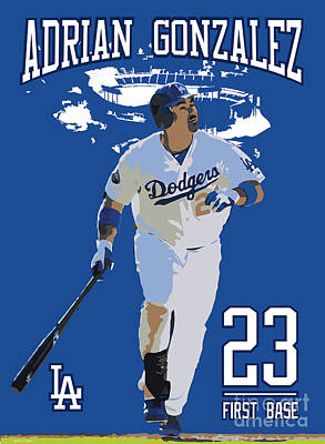 Gold Glove Digital Art - Adrian Gonzalez by Israel Torres