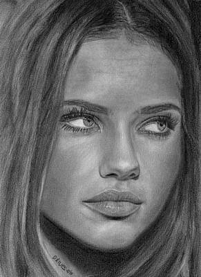 Drawing - Adriana Lima 2 by David Rives