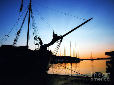Blue Pirate Ships Landscape Photograph - Adriatic Port by Sinisa Botas