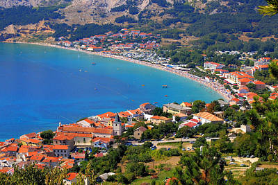 Photograph - Adriatic Town Of Baska Aerial Panorama by Brch Photography