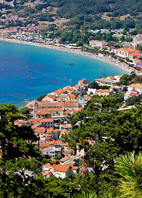 Photograph - Adriatic Town Of Baska Vertical Aerial View by Brch Photography