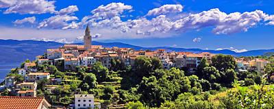 Adriatic Town Of Vrbnik Panoramic View Art Print