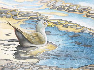 Yellow Beak Painting - Adrift by Wayne Hardee
