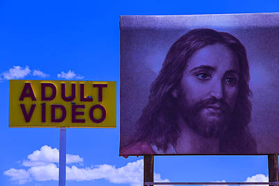 Jesus Photograph - Adult Video Sign by Garry Gay