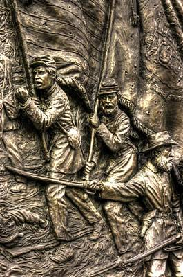 Advancing The Colors - State Of Delaware Monument Gettysburg Detail-a Autumn Mid-day Art Print by Michael Mazaika