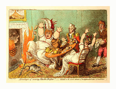 Historic Home Drawing - Advantages Of Wearing Muslin Dresses, Gillray by English School