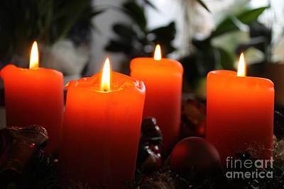 Art Print featuring the photograph Advent Candles Christmas Candle Light by Paul Fearn
