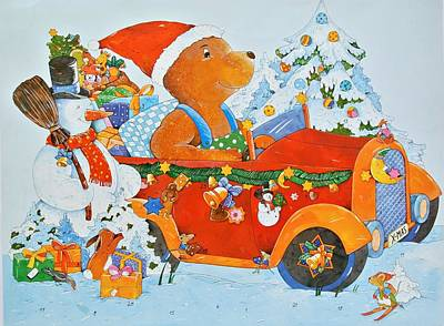 Advent Calendar Bear Art Print by Christian Kaempf