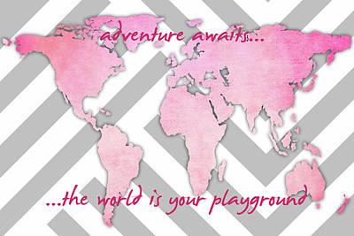 Globe Painting - Adventure Awaits Pink by Anna Quach
