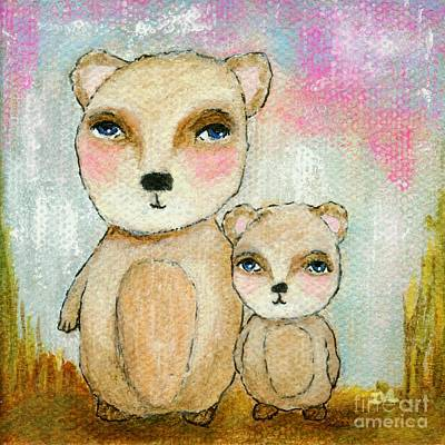 Painting - Adventure Day Whimsical Woodland Bears Art by Itaya Lightbourne