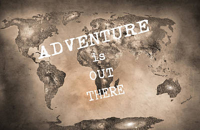 Typography Map Photograph - Adventure Is Out There Stars World Map Sepia by Guido Montanes Castillo