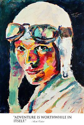 Derek Russell Wall Art - Painting - Adventure Is Worthwhile In Itself Amelia Earhart by Derek Russell