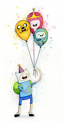 Balloons Painting - Adventure Time Finn With Birthday Balloons Jake Princess Bubblegum Bmo by Olga Shvartsur