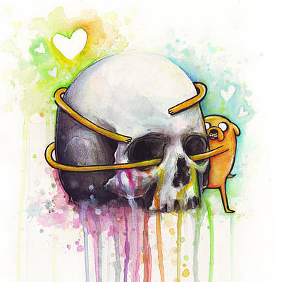 Skull Painting - Adventure Time Jake Hugging Skull Watercolor Art by Olga Shvartsur