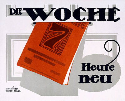 Red Drawing - Advert For Die Woche by Carlo Egler