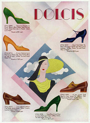 Bright Colours Drawing - Advertisement For Dolcis Shoes by  Illustrated London News Ltd/Mar